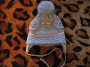 шапка деми,  двойная,  на объем головы 44-46 см.