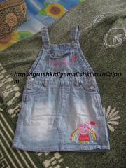cупер классный джинсовый сарафанчик с пеппой ladybird на 4-5 лет