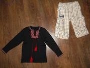 Продам черную трикотажную вышиванку и штаники Wojcik на 3-5 лет